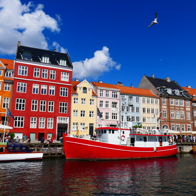 """Boat and coloured houses, Copenhagen"" stock image"