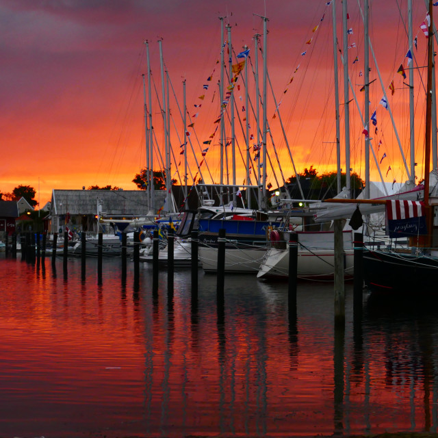 """Vivid sunset over Swedish harbour - Viken"" stock image"