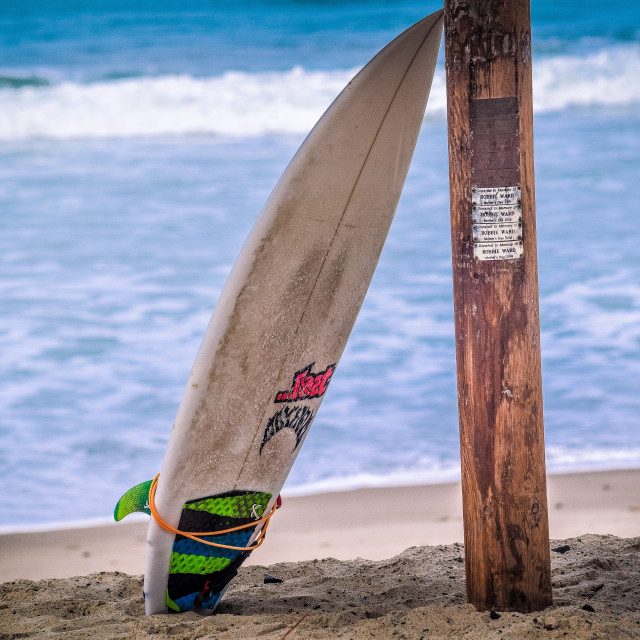 """""""Lonely Surfboard"""" stock image"""