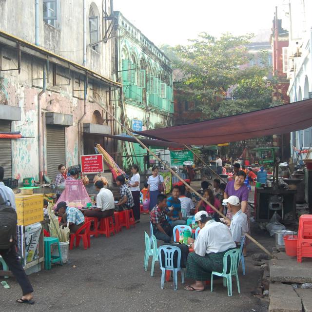"""Street food in Yangon"" stock image"