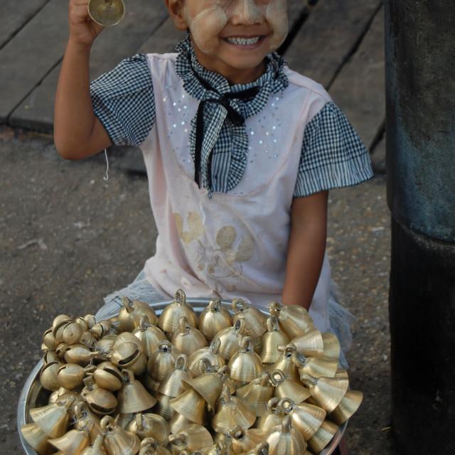 """Bells for sale in Yangon, Myanmar"" stock image"