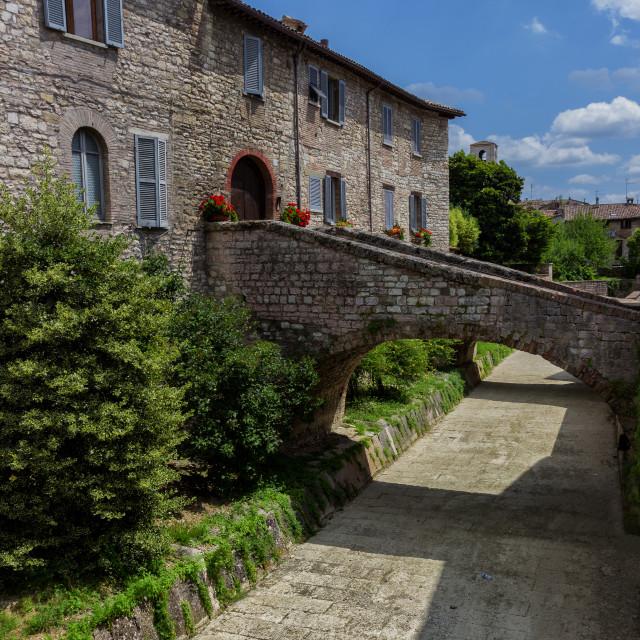 """A delicious glimpse of Gubbio, medieval italian town"" stock image"