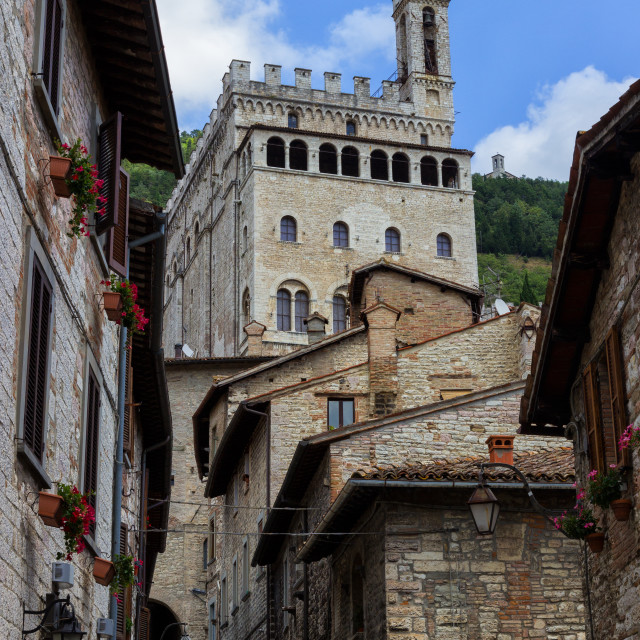 """A delicious glimpse of Gubbio, medieval italian town"" stock image"