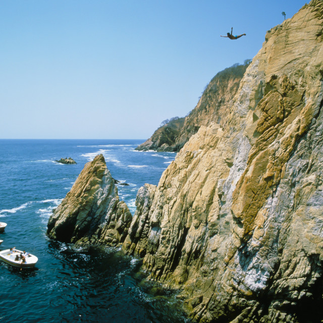 """""""MEXICO ACAPULCO CLIFF DIVERS."""" stock image"""