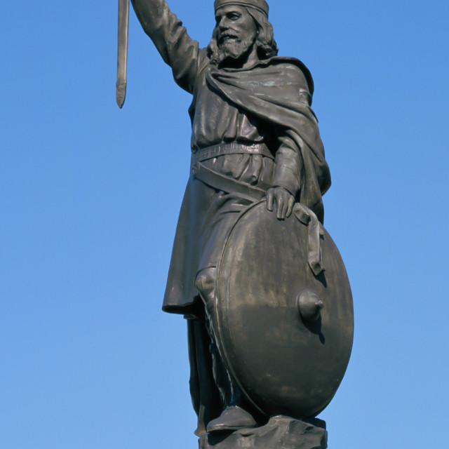 """KING ALFRED THE GREAT STATUE WINCHESTER ,HAMPSHIRE,ENGLAND"" stock image"