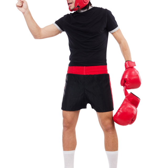 """Funny boxer isolated on the white"" stock image"