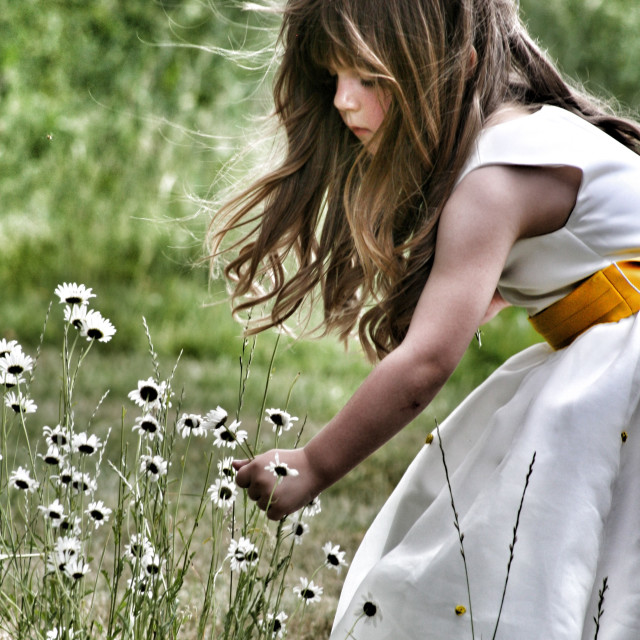 """""""Girl and flowers"""" stock image"""