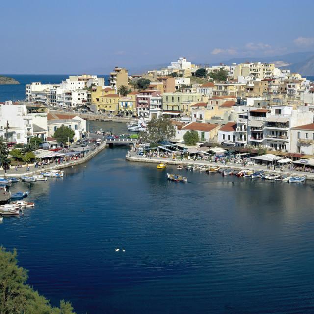 """""""CRETE. Agios Nicolaos view over lake."""" stock image"""
