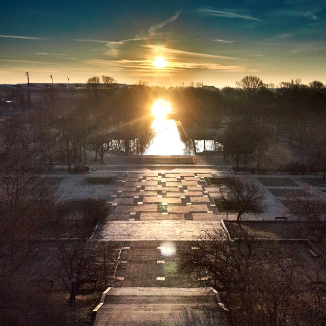 """""""Sunrice on Agrykola Park, Warsaw, Poland"""" stock image"""