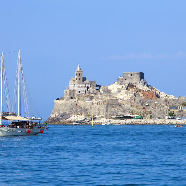 """Italy, Liguria, La Spezia, Golfo dei Poeti, Portovenere, San Pietro Church."" stock image"