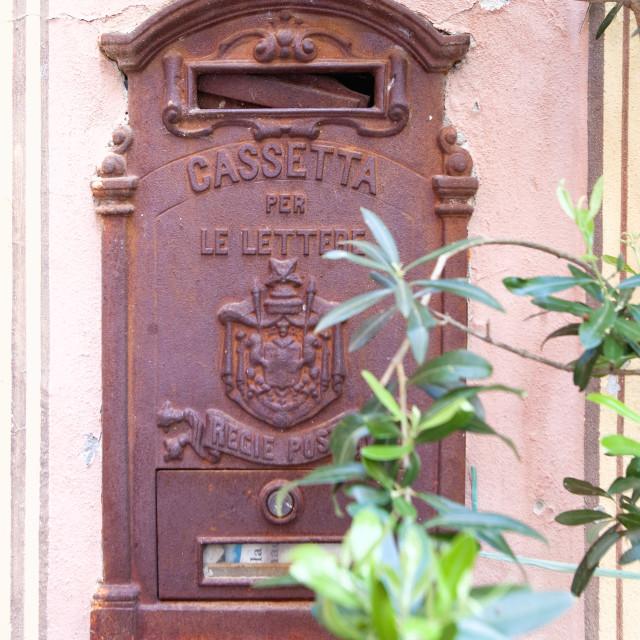 """Italy, Lerici, La Serra - Old Postbox"" stock image"
