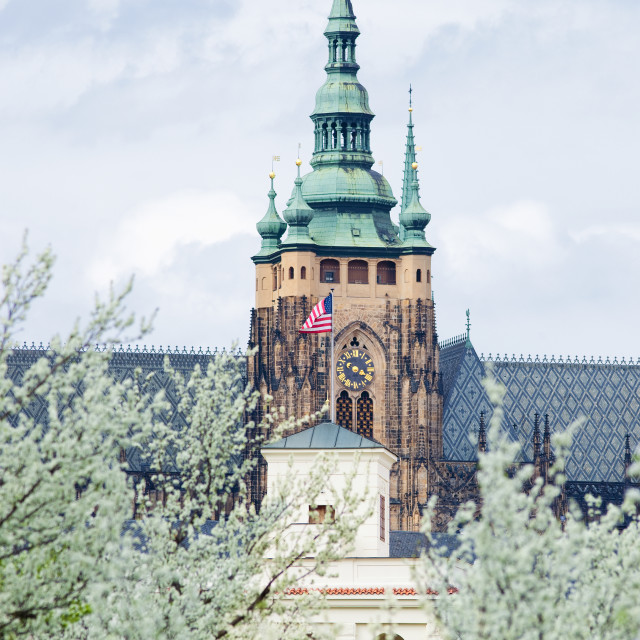 """Czech Republic Prague - St. Vitus Cathedral over US. Embassy´s Bower."" stock image"