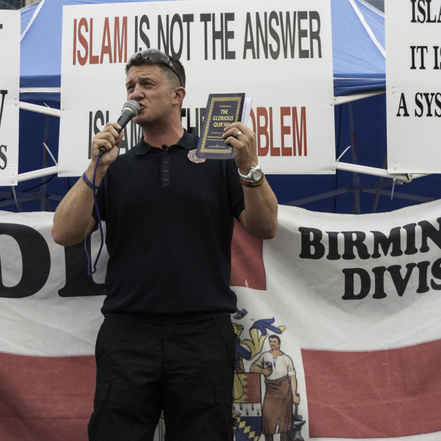 """Tommy Robinson/EDL Speaks to Birmingham"" stock image"