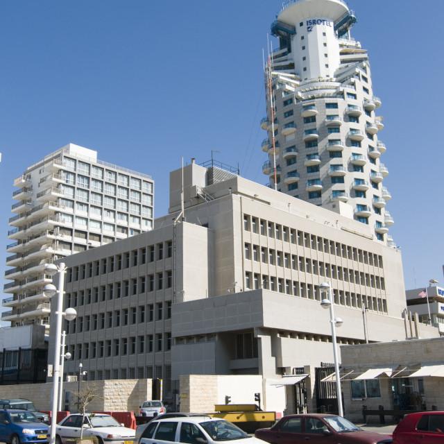 """Israel, Tel Aviv. The American Embassy"" stock image"