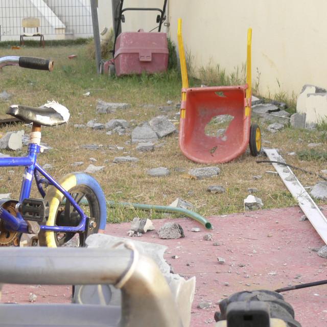 """Israel, Sderot, Qassam rockets damages"" stock image"