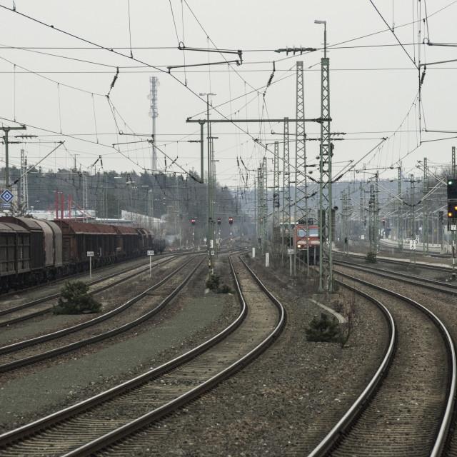 """European Railway power lines"" stock image"