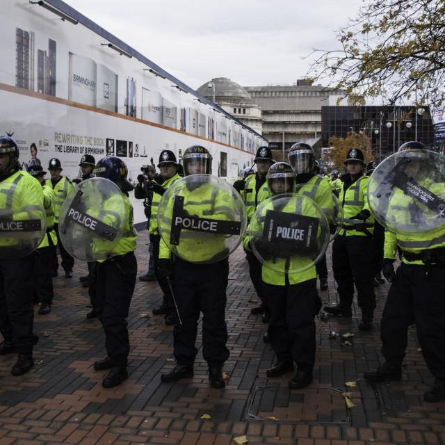 """Riot Police prepare to intercept Demonstarators in Birmingham."" stock image"
