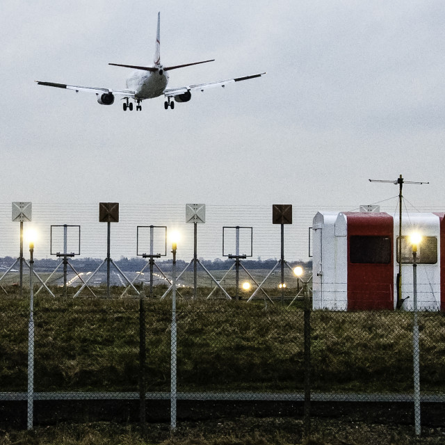 """Jet Airliner landing at BHX"" stock image"