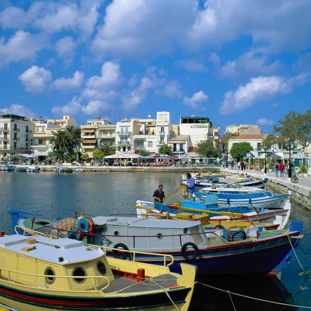 """""""CRETE. Agios Nicolaos Lake & Waterfront."""" stock image"""