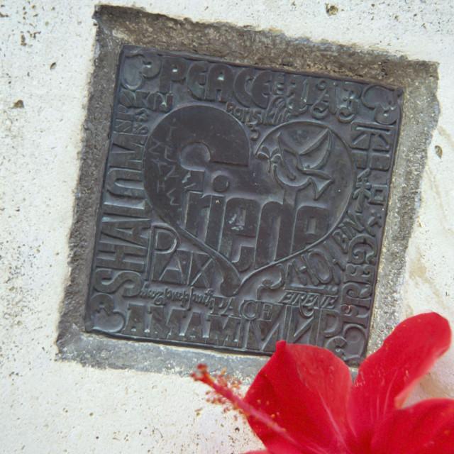 """""""CRETE ,Plaque on Nikos Kazantazakis Grave"""" stock image"""