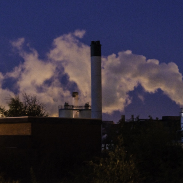"""Factory steam at night"" stock image"