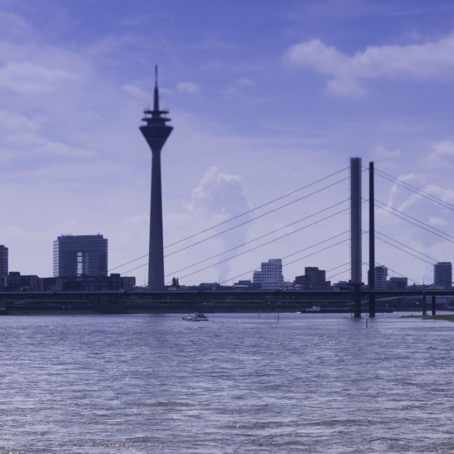 """River Rhine in Dusseldorf city centre"" stock image"