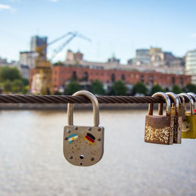 """Love locks at Puerto Madero, Buenos Aires, Argentina"" stock image"