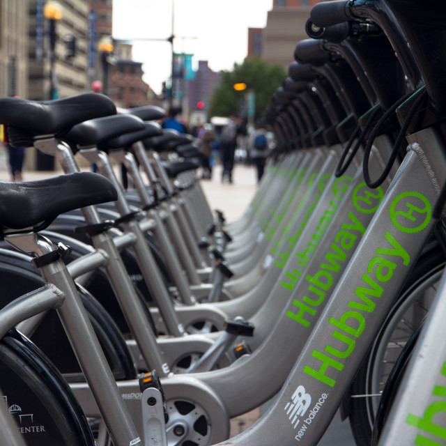 """Bikes for rent in Boston"" stock image"
