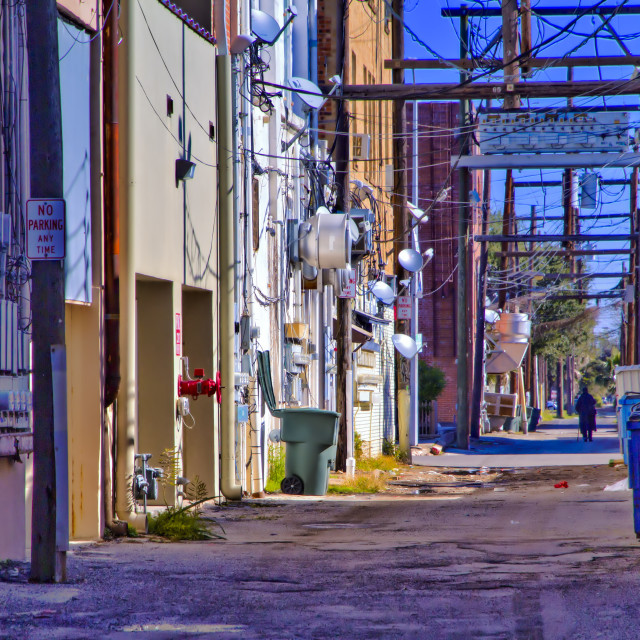 """Back alley in Galveston"" stock image"