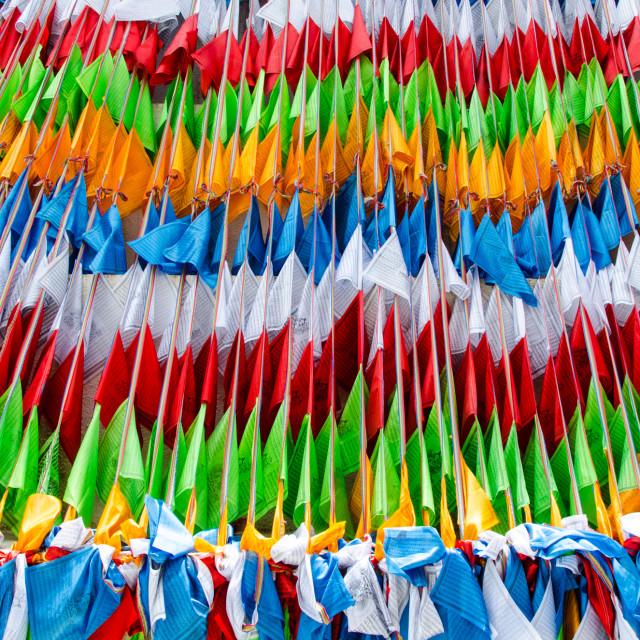 """Prayers flags in Jiuzhaigou"" stock image"