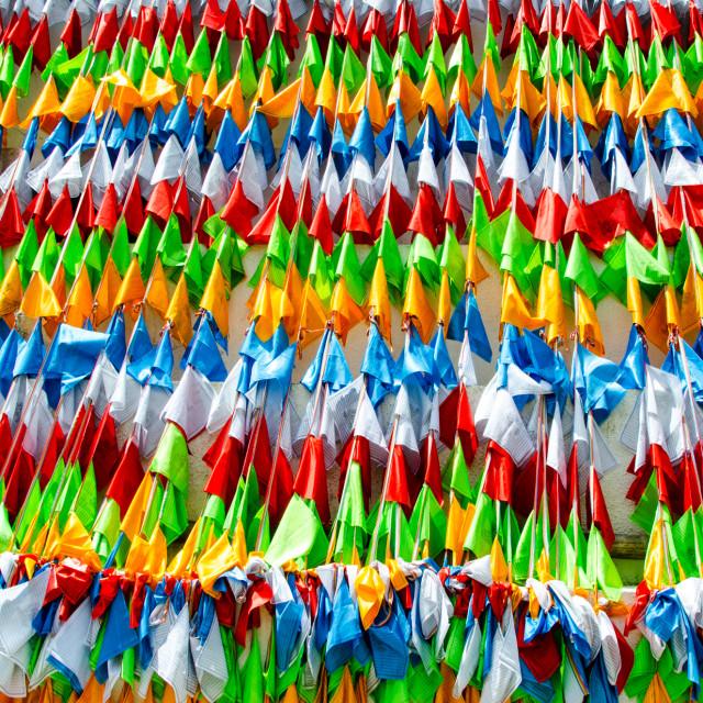 """Prayer flags at Zara Temple"" stock image"