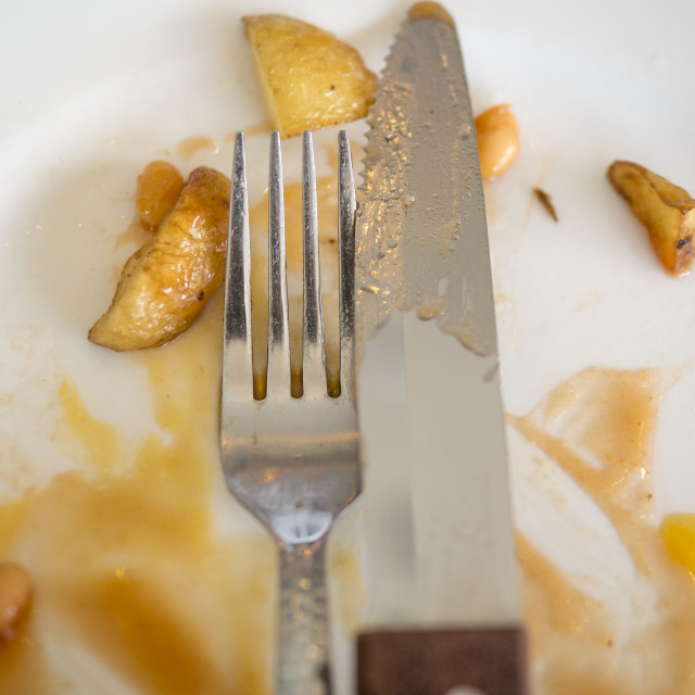 """""""Knife and Fork on Plate"""" stock image"""