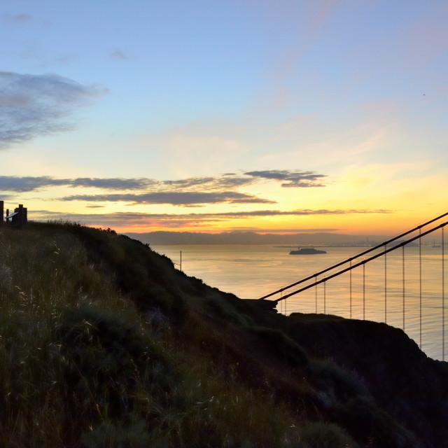 """Bay view with Alcatraz"" stock image"