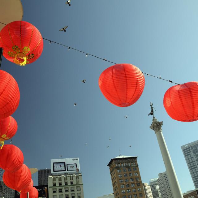 """Chinese Lanterns and pigeons"" stock image"