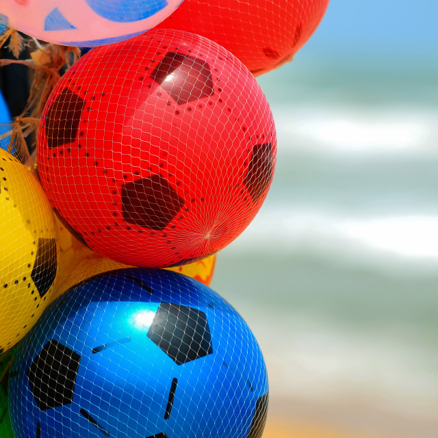 """""""Colorful kids air balls deisgned as soccer balls"""" stock image"""