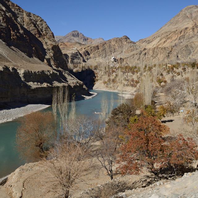 """Confluence of Zanskar and Indus rivers - Leh, Ladakh, India"" stock image"
