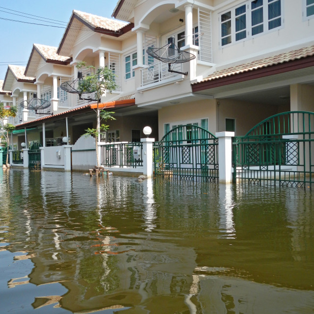 """BANGKOK, THAILAND - NOV 11: The worst flood on village at Taling Chan distric..."" stock image"