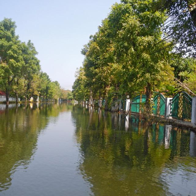 """BANGKOK, THAILAND - NOV 11: The worst flood on village at Taling Chan distric..."" stock image"