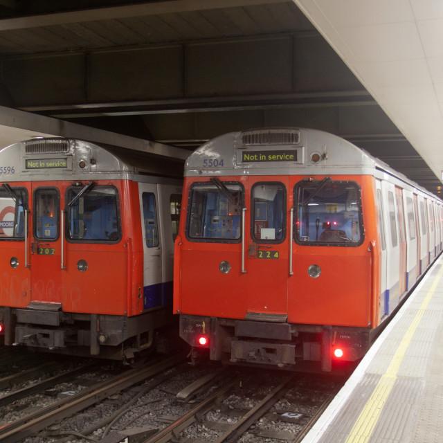 """London Underground trains"" stock image"