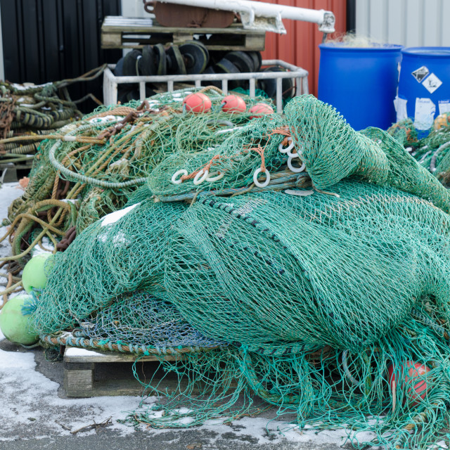 """professional fishing net in the harbour"" stock image"