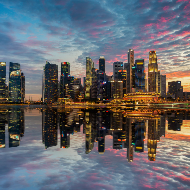 """Singapore,Singapore – August 2016 : Aerial view of Singapore city skyline in sunrise or sunset at Marina Bay, Singapore"" stock image"