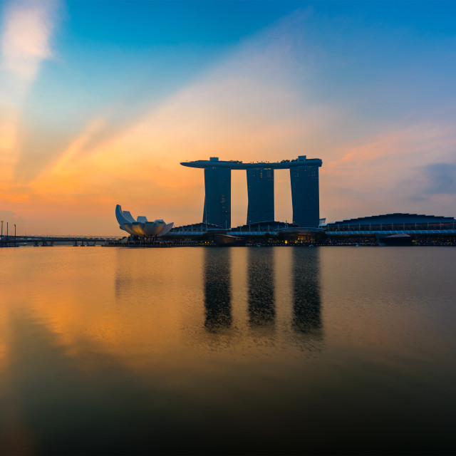 """Singapore,Singapore – April 2016 : Aerial view of Singapore city skyline in sunrise or sunset at Marina Bay, Singapore"" stock image"