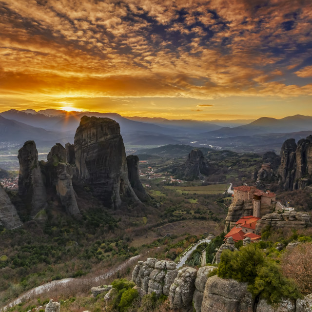 """Meteora at sunset"" stock image"