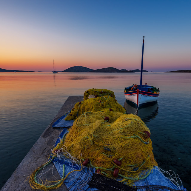 """Sunrise in Astypalaia island"" stock image"