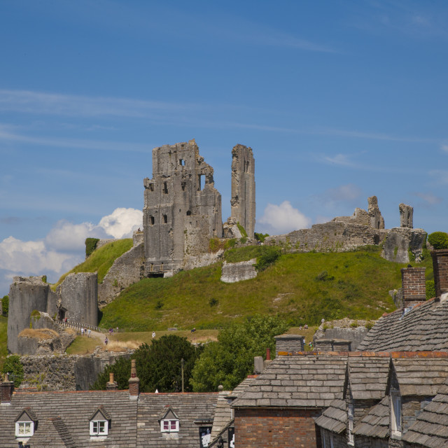 """Corfe Castle, Vilage & Castle, Dorset,England"" stock image"