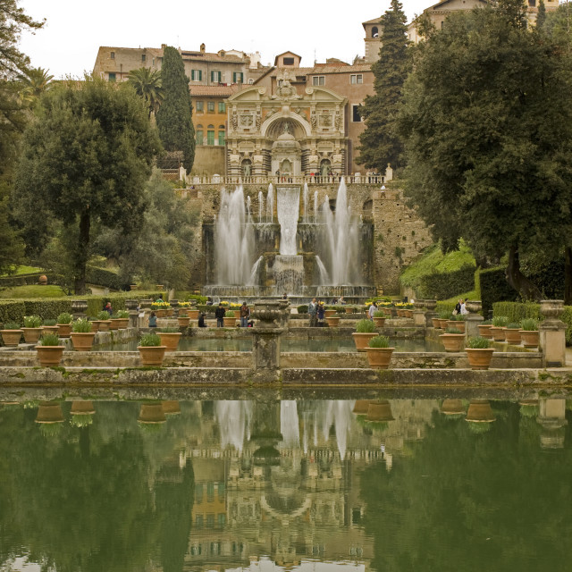 """Italian garden with fountains"" stock image"