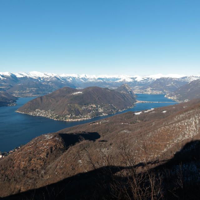 """Lake of Lugano panoramic view"" stock image"