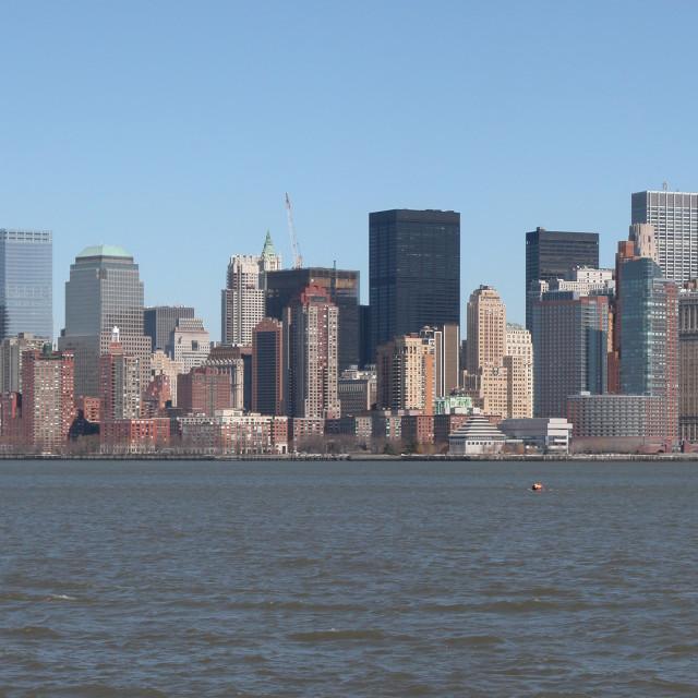 """Panoramic landscape of Manhattan Skyline"" stock image"