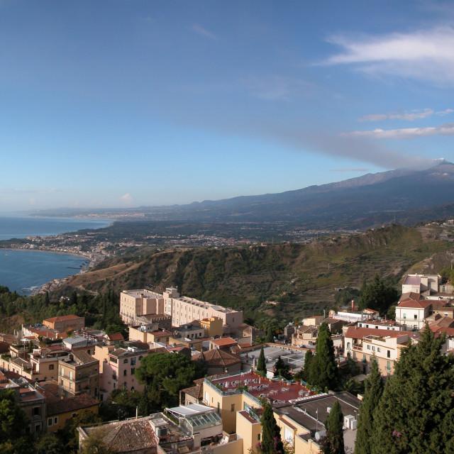 """""""Panoramic view of Taormina with Etna"""" stock image"""