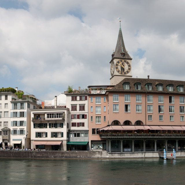 """Zurich panorama from the river"" stock image"